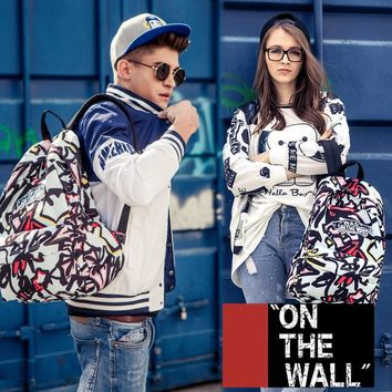 VansFashion Personality printing large capacity backpack bag leisure travel boom Light blue lines 7 style
