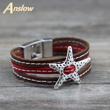 Anslow Creative Design Fashion Jewelry Vintage Trendy Star Punk Rock Style Leather Bracelet For Men Men Christmas Gift LOW0678LB
