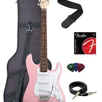 Squier by Fender Bullet Strat Electric Guitar with Tremolo, Rosewood Fretboard Pack - Pink
