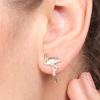 Accessories simple and creative personality fashion metal alloy flamingo ear earrings.
