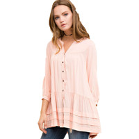 Button Down Tiered Tunic, Peach
