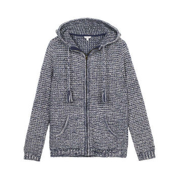 Fat Face Alice Textured Hoodie, Navy at John Lewis