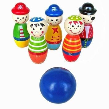 MDIGYN5 Children Toys Wooden Bowling Ball Skittle Funny Shape for Kids Game Wooden toys for children kids toy Bowling Sports