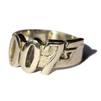 Bronze 007 James Bond Ring - Secret Agent MI6 Jewelry