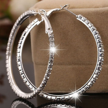 Hot Fashion Plated Silver Diamond Earrings Single Drainage Earrings Ear Hook = 1946336196