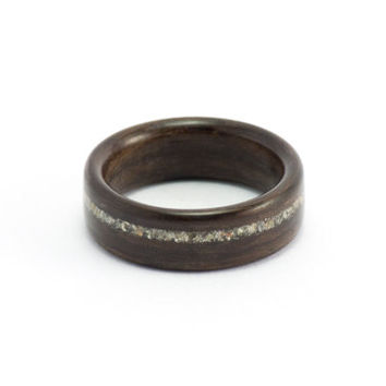 Men's Wood Wedding Ring, Ebony and Concrete Wooden Jewelry