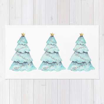 christmas tree Rug by Sylvia Cook Photography