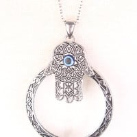 Silver Carved O-Ring And Henna Hand Pendant Necklace