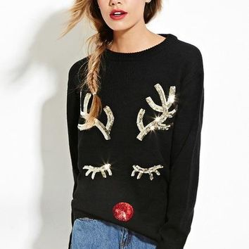Ugly Christmas Sequin Knitted Sweater