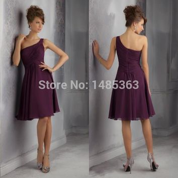 New Fashion One Shoulder Knee Length Chiffon Plum Discount Bridesmaid Dress 2015 Free Shipping