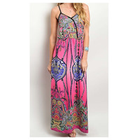 Style and Flare Geo Print Pink Maxi Dress