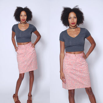 Vintage 80s FLORAL Denim Skirt Peach Pencil Skirt PRINTED Cotton Skirt DITZY Floral Skirt