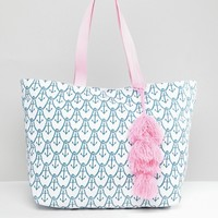 Chateau Anchor Print Beach Bag at asos.com