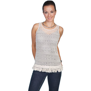 Scully Womens Honey Creek Crochet Camisole Ivory Tank Top