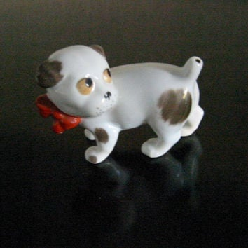 Red Bow Mini German Dog Porcelain Figurine W Hallmarks