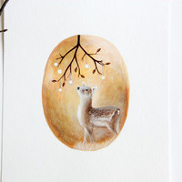 OOAK Original acrylic children illustration spring reindeer Art for nursery