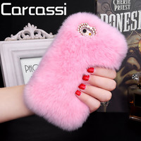 Fashion Luxury Fluffy Winter Soft Wool Rabbit Hair Cover for Iphone 5 5s 6 6s 6 Plus Fur Plush Bling Diamond Bow elegant Cases