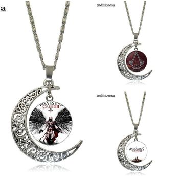 Mendittorosa Assassins Creed Game Ezio Fashion Necklace For Girls Handmade Moon Shape Choker Necklace Jewelry Multi Designs