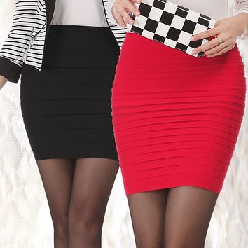 Spring Summer Women High Waist Tight Office Skirt Slim Casual Package Hip Skirt Good Elastic Lady Mini Sexy Pencil Skirts