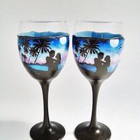 Glass wine glasses, Set 2, Romance glasses, Glasses for two, Glasses sunset, Palm trees, Blue Glasses, Аnniversary gift, beach, sea