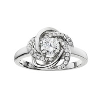 The Silver Lining Cubic Zirconia Silver Tone Love Knot Ring (White)