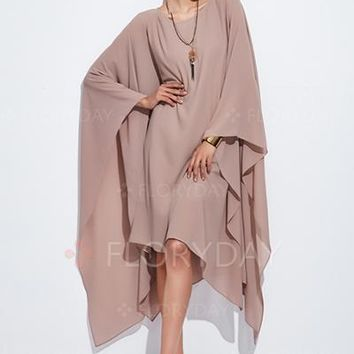 Chiffon Solid Long Sleeve High Low Shift Dress