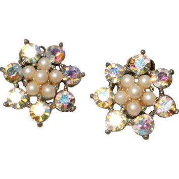 Crystal Aurora Borealis and Faux Pearl Clip-back Earrings