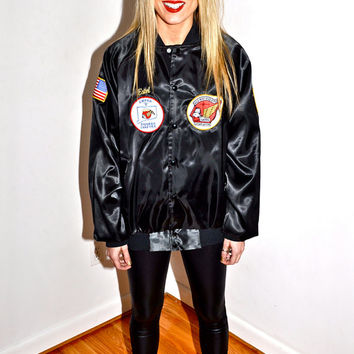 Make an Offer HONDA GOLD WING Motorcycle Riders Association 1980s Black Nylon Satin Snap Button Jacket Womens Large L Biker Club Style