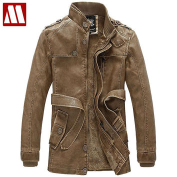 Luxurious suede motorcycle jacket fur lined Winter leather Coat waterproof