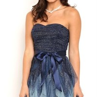 Strapless Short Homecoming Dress with Ombre Tendril Skirt