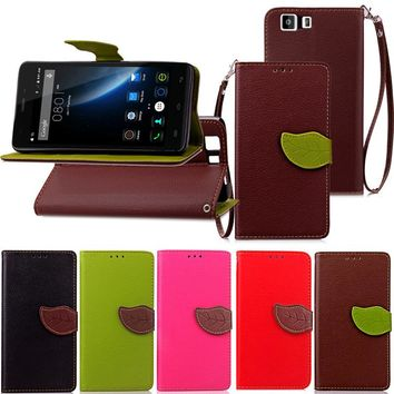 For Doogee X5 X5 Pro Luxury Leather Cover Flip Wallet Phone Case With Leaves Buckle And Lanyard Mobile Phone Shell