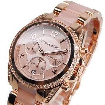NEW MICHAEL KORS MK5943 ROSE GOLD CRYSTAL CHRONOGRAPH WOMEN'S WATCH UK