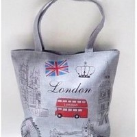 London bus Fashion Canvas Shopping Tote/grocery Bag