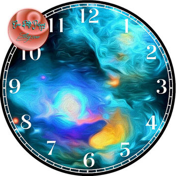 """Nursery Nebula Painting Art - -DIY Digital Collage - 12.5"""" DIA for 12"""" Clock Face Art - Crafts Projects"""