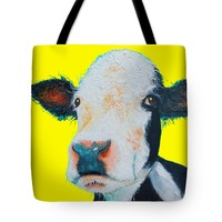 """Black and White Hereford Cow Tote Bag 18"""" x 18"""""""