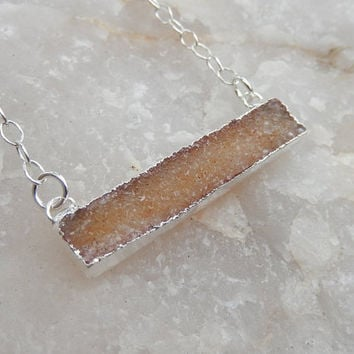 Champagne Nude Druzy Bar Silver Necklace Rectangle Horizontal Quartz Tan Brown Drusy - Free Shipping OOAK Jewelry