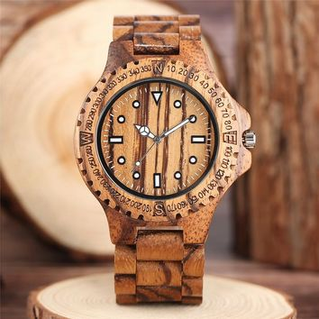 Zebra Full Wooden Novel Creative Watches Analog Nature Wood Simple Wrist Watch Men Luxury Modern Bamboo Men's Clock Fashion Gift