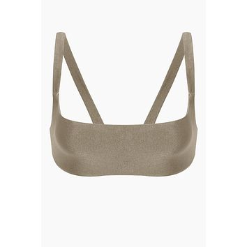 Revel V Back Bikini Top - Pebble Brown