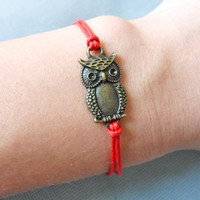 Adjustable owl wrist bracelet ropes bracelet women bracelet girls bracelet made of hemp ropes and ancient Bronze owl Cuff Bracelet  SH-1312