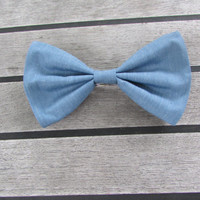 Blue / Denim / Chambray Hair Bow
