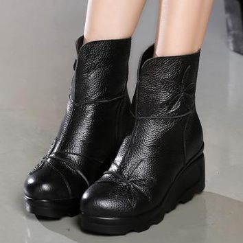 Wedge Heels Boots | Genuine Leather Ankle Boots