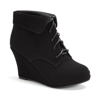 Lace Up Platform Wedge Heel Ankle Booties
