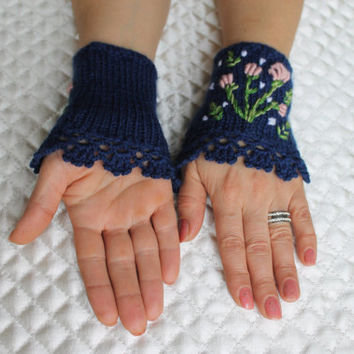 Knitted Fingerless Gloves,Navy Blue Gloves,Flower,Accessories,Gloves&Mittens,Gift Ideas,Turkish handicrafst,For her,Clothing and Accessories