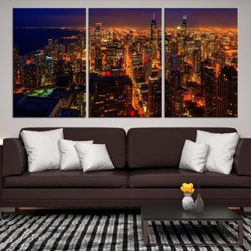 21291 - Chicago Wall Art Canvas Print - Extra Large Chicago City Night Canvas Print