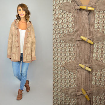 vtg 70's HOODED knit boho hippie preppy CARDIGAN SWEATER w/ wooden toggle closures, extra small-large