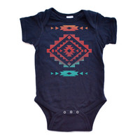 Cool Native American Aztec Southwest Indian Style Print Baby Bodysuit Great Gift Idea Newborn Baby Infant Bodysuits Navy or White