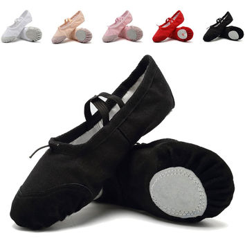 CIOR Ballet Slippers Leather Sole for Girls Classic Split-Sole Canvas Dance Gymnastics Yoga Shoes Flats(Toddler/Little Kid/Big Kid) Black 12 M US Little Kid '