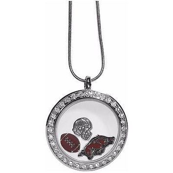 "Arkansas Razorbacks Locket Necklace Floating Charms Silver Tone 18"" Snak ..."