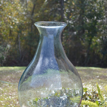 One Extra Large Vintage Glass Bottle in Green- Hand Blown - Vintage Bottle Rustic and Vintage Charming Decor Contact us for correct shipping