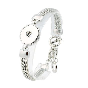 Hot Snap Bracelet&Bangles Newest Design Antique Silver Plated Vintage Bracelet FIt Snaps Button Jewelry ZE344